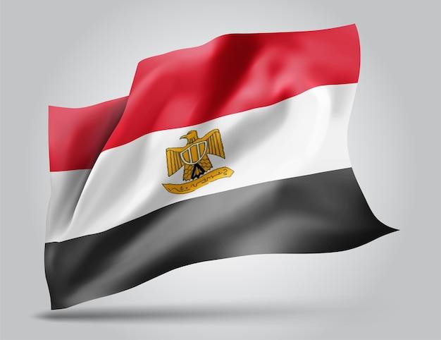 Egypte, vector vlag met golven en bochten zwaaien in de wind op een witte achtergrond.
