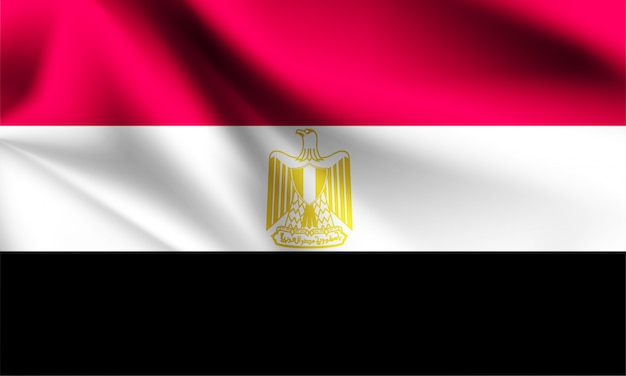 Egypte vlag waait in de wind.