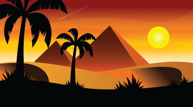 Egypte zonsondergang met palmbomen cartoon plat ontwerp.
