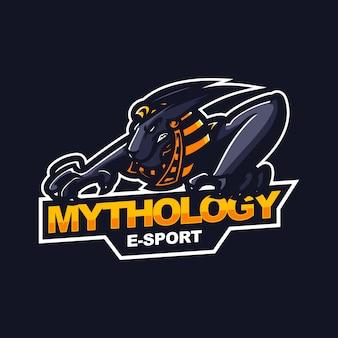 Egyptische anubis e-sport gaming mascotte logo sjabloon