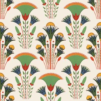 Egyptische bloemen naadloze patroon achtergrond vector