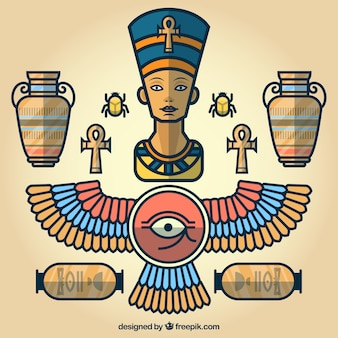 Egyptische cartoon elementen