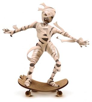 Egyptische cartoon mummie monster roll op skateboard