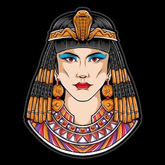 Egyptische cleopatra logo illustratie