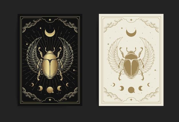 Egyptische gevleugelde scarabee versierd met maanfase-ornament, met gravure, handgetekend, luxe, esoterisch, boho-stijl, geschikt voor paranormaal, tarotlezer, astroloog of tattootemplate8