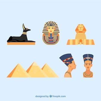 Egyptische goden en symbolenverzameling met vlak ontwerp