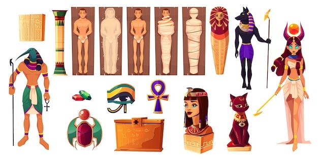 Egyptische goden thoth en hathor. oude attributen van cultuur en religie ingesteld.