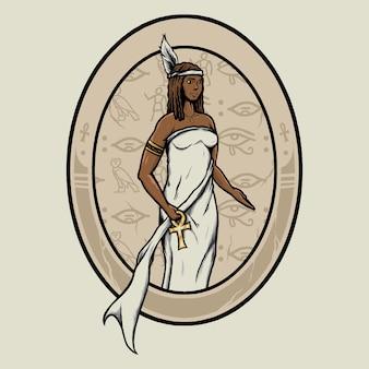 Egyptische godin maat logo badge illustratie