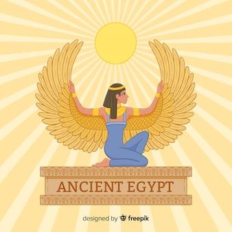 Egyptische godinnenachtergrond in vlak ontwerp