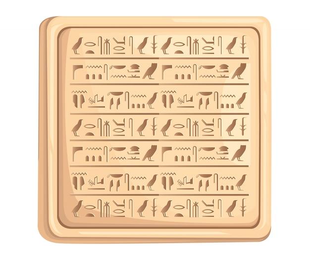 Egyptische hiërogliefen op stenen plaat oude script illustratie op witte achtergrond website-pagina en mobiele app Premium Vector