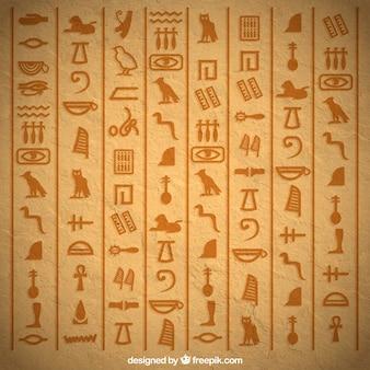 Egyptische hiërogliefenachtergrond met vlak ontwerp