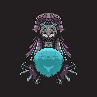 Egyptische leeuwenkoning illustratie