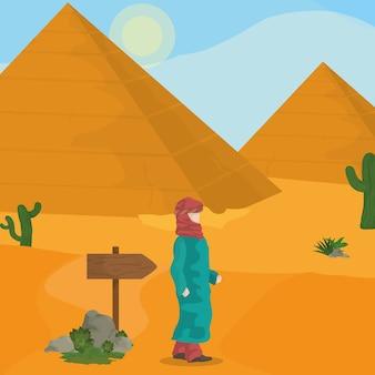 Egyptische piramides op woestijn