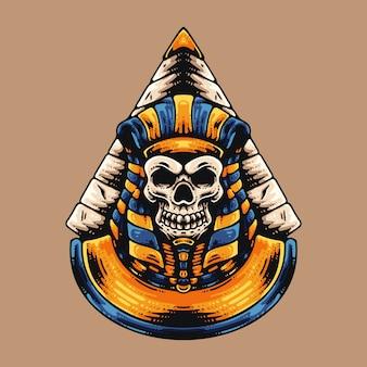 Egyptische schedel en piramide Premium Vector