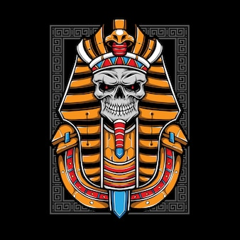 Egyptische schedel mummie illustratie Premium Vector
