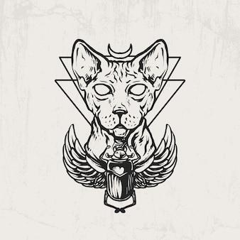 Egyptische sfinxkat en mestkever