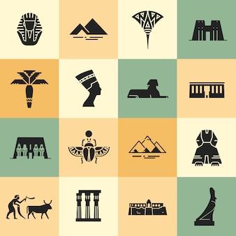 Egyptische vlakke stijliconen.