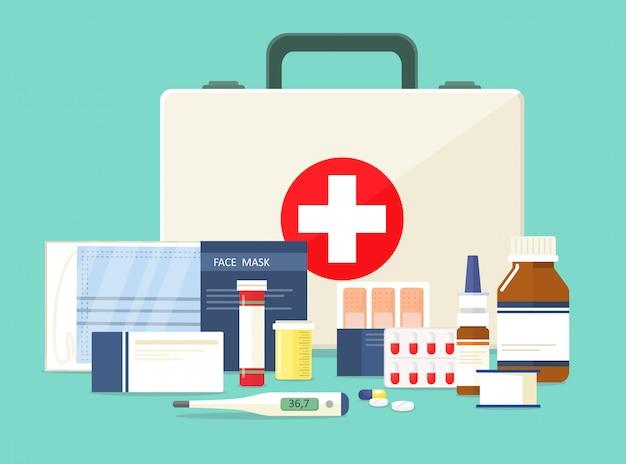 Ehbo doos. gezichtsmasker en verschillende medicijnen. illustratie in cartoon-stijl.