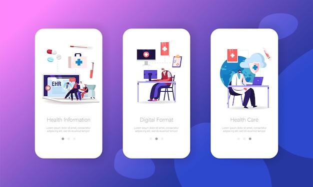 Ehr, elektronische gezondheidsdossier mobiele app-pagina onboard-schermsjabloon
