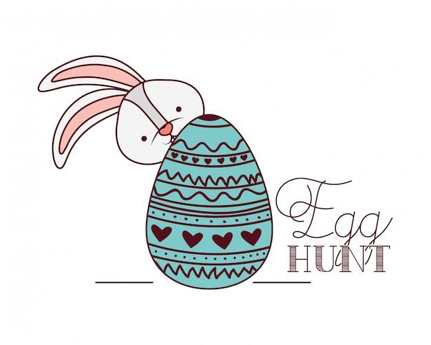Ei jagen label met bunny geïsoleerde pictogram
