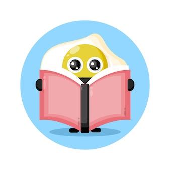 Ei lezen van een boek schattig karakter logo