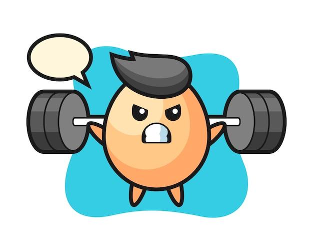 Ei mascotte cartoon met een barbell, leuke stijl voor t-shirt, sticker, logo-element