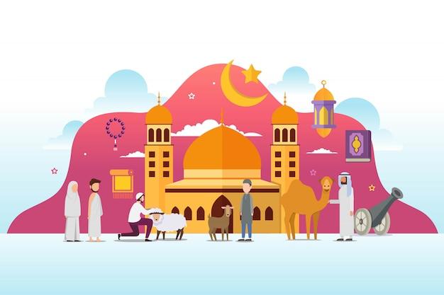 Eid adha mubarak met kleine mensen karakter ontwerpconcept