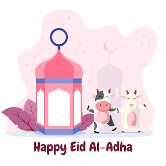 Eid adha mubarak wenskaart met gelukkige koe en geit vlakke afbeelding