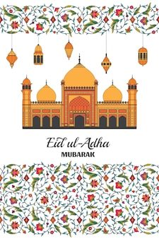 Eid al adha achtergrond islamitische arabische moskee lantaarns arabesk bloemmotief takken met bloemen...
