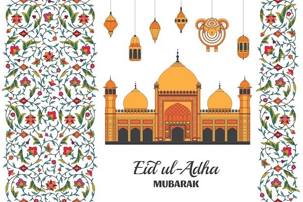 Eid al adha achtergrond islamitische arabische moskee lantaarns en schapen arabesk bloemmotief takken met...