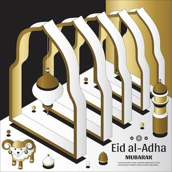 Eid al adha achtergrond isometrische islamitische arabische moskee lantaarns en schapen wenskaart festival van ...
