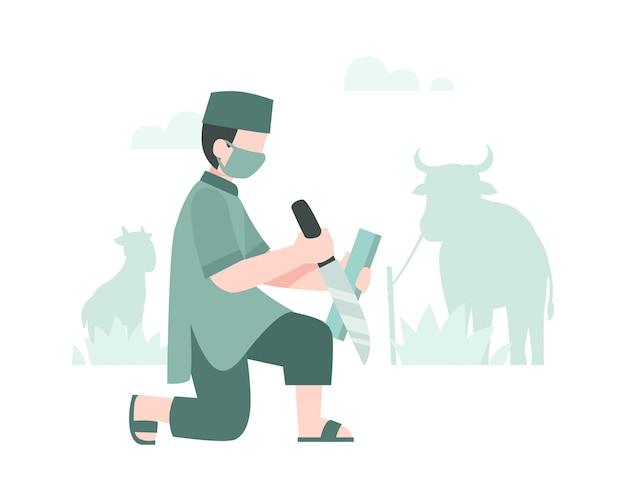 Eid al-adha achtergrond met een slager een mes slijpen om vlees illustratie te snijden