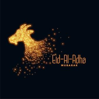 Eid al adha achtergrond met sprankelende geit