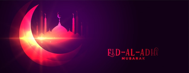 Eid al adha gloeiende traditionele banner