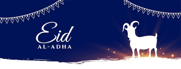 Eid al adha moslim bakrid festival vakantie banner Gratis Vector
