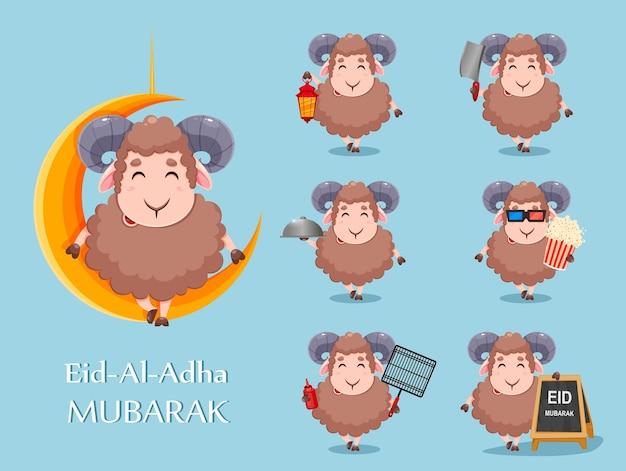 Eid al adha mubarak cartoon offerschaap