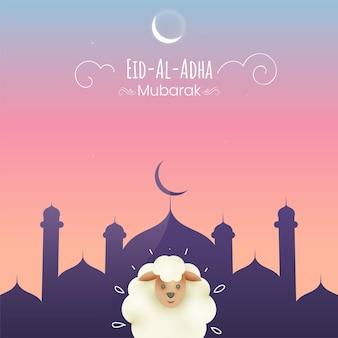 Eid-al-adha mubarak concept met cartoon schapen