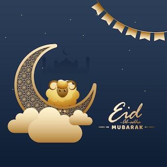 Eid-al-adha mubarak concept met gouden halve maan, cartoon schapen, wolken en bunting vlaggen op blauwe achtergrond.