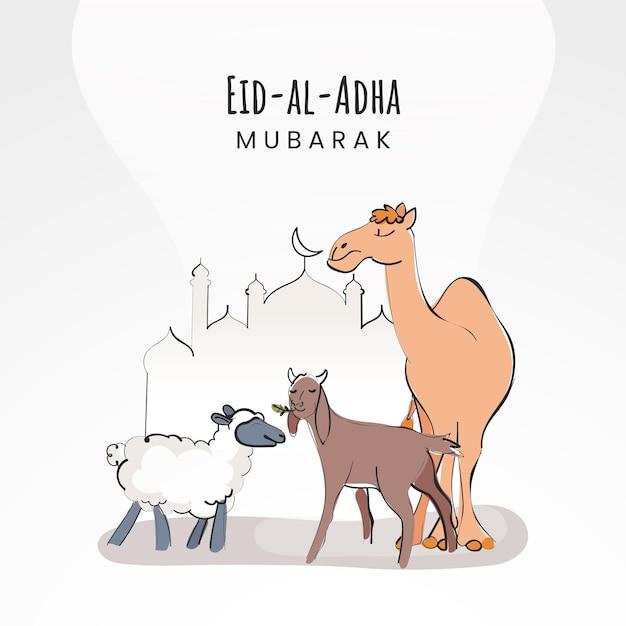 Eid-al-adha mubarak-concept met tekenfilmdieren als schapen