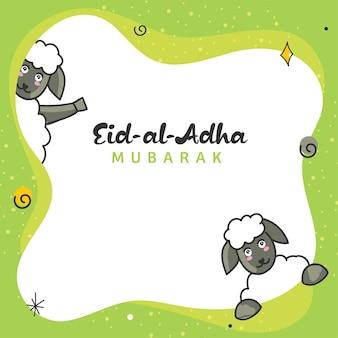 Eid-al-adha mubarak-concept met twee cartoonschapen