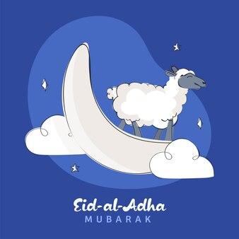 Eid-al-adha mubarak-concept met witte halve maan
