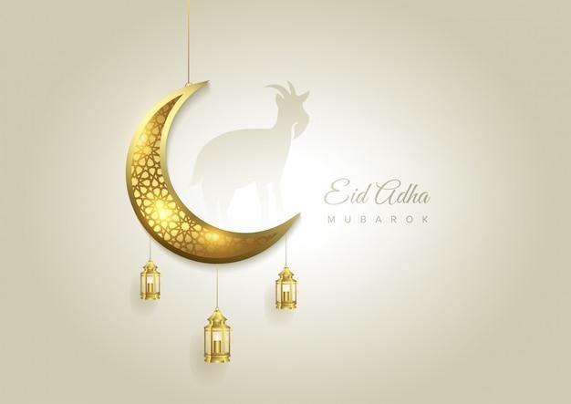 Eid al adha mubarak de viering van de festivalachtergrond van de moslimgemeenschap