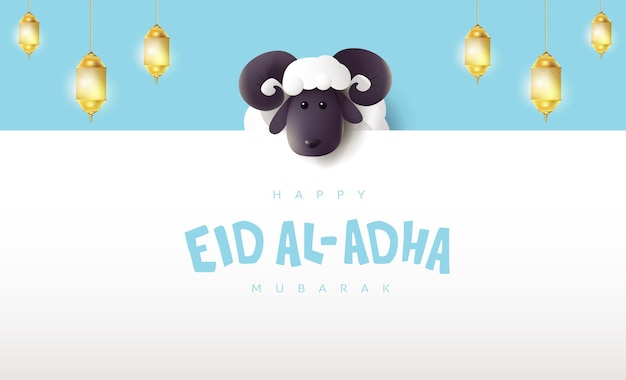 Eid al adha mubarak de viering van de kalligrafie van het moslimgemeenschapsfestival met witte schapen