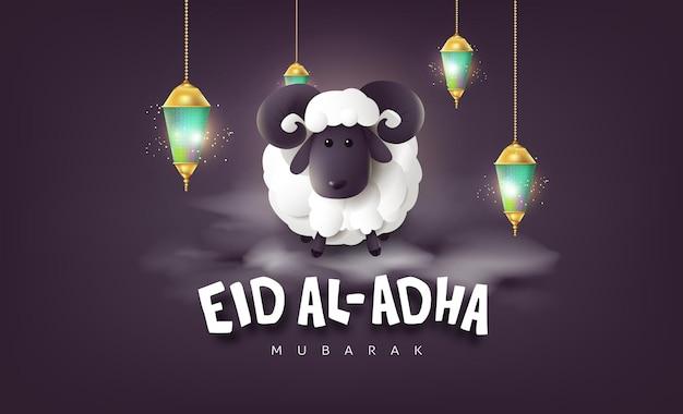 Eid al adha mubarak de viering van de moslimgemeenschapsfestivalkalligrafie met witte schapen en wolk
