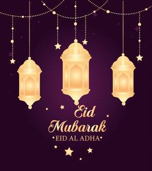 Eid al adha mubarak, gelukkig offerfeest, met hangende lantaarns en sterren