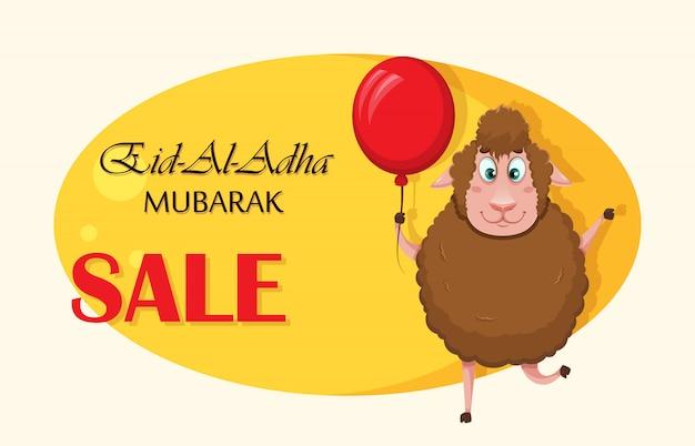 Eid al-adha mubarak. grappige cartoon schapen