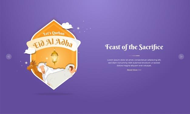 Eid al adha mubarak-groetconcept met schapen en geitkarakter