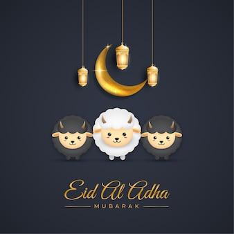 Eid al adha mubarak met geit en halve maan