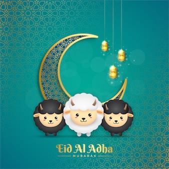 Eid al adha mubarak met lantaarn sikkel en schapen