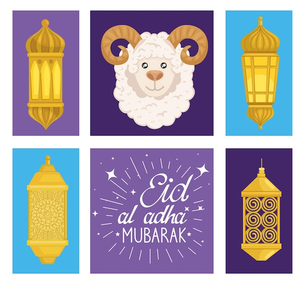Eid al adha mubarak schapen en lantaarns set